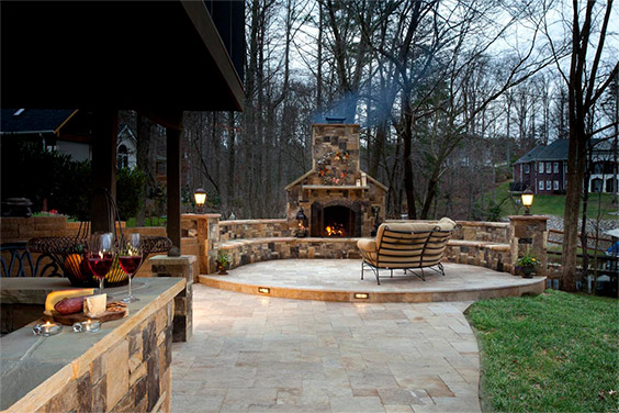 charlotte nc hardscapes and outdoor fireplace
